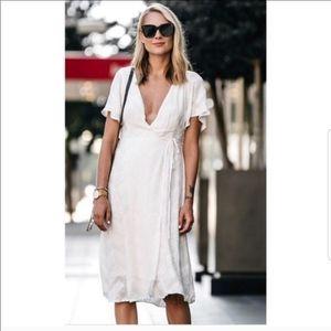 ASTR   White Embroidered Wrap Midi Dress